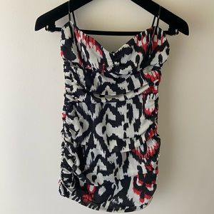 Strapless Ruched Bodycon Dress Red Accents Size S